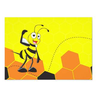 Abelha amarela bonito que salta Hurray Hoorah Convite 12.7 X 17.78cm