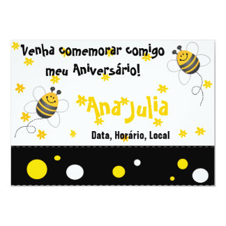 Abelha Convite 12.7 X 17.78cm