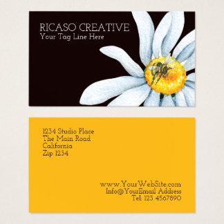 Abelha da aguarela no costume da flor cartão de visitas