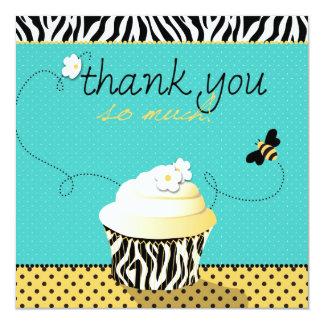 Abelha do aniversário & obrigado do cupcake você convite quadrado 13.35 x 13.35cm