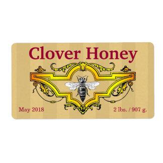 Abelha e frasco personalizado trevo do mel etiqueta de frete