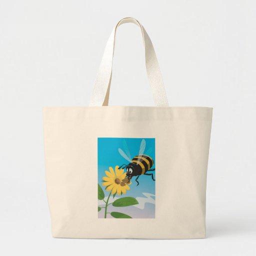 Abelha feliz dos desenhos animados com flor amarel bolsas para compras