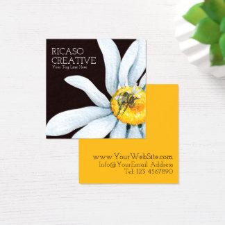 Abelha na aguarela personalizada costume da flor cartão de visitas quadrado
