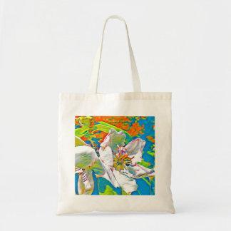 Abelha na flor em cores tropicais bolsa tote