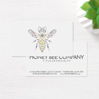 abelha ornamentado do mel cartão de visitas