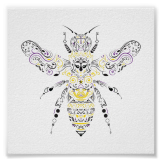 abelha ornamentado do mel pôster