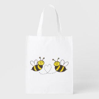 Abelhas do mel com coração sacola ecológica