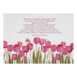 """""""abençoe esta casa"""" no alemão, nas tulipas e na bo posteres"""