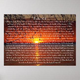 Abençoe o poster do salmo 103 do verso da bíblia d