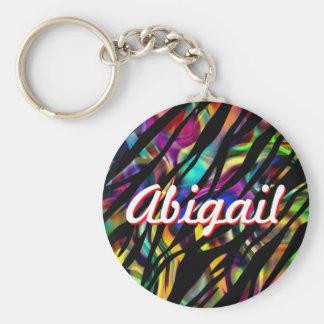 Abigail personalizou o chaveiro colorido