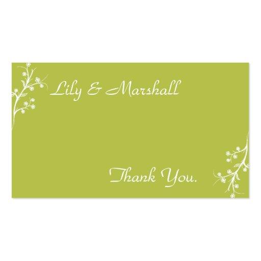 Abloom em cartões de agradecimentos verde-oliva cartoes de visitas