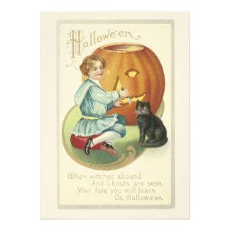 Abóbora antiquado do Dia das Bruxas que cinzela o  Convite Personalizados
