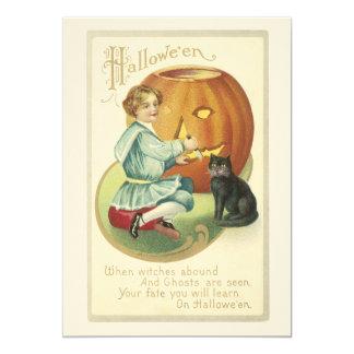 Abóbora antiquado do Dia das Bruxas que cinzela o Convite 12.7 X 17.78cm