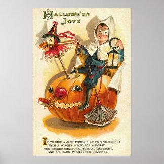 Abóbora Apple da lanterna de Jack O do menino do Poster