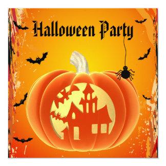Abóbora assustador da casa, aranha & bastões o Dia Convite Quadrado 13.35 X 13.35cm