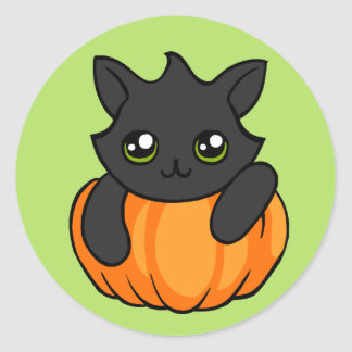 Abóbora bonito do gato preto que tira a etiqueta adesivo