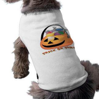 Abóbora da doçura ou travessura camisa sem mangas para cachorro