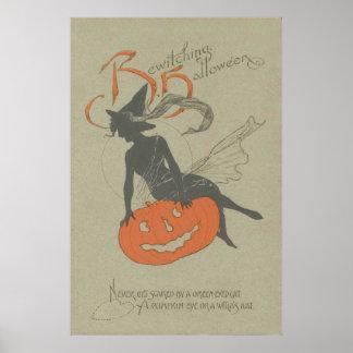 Abóbora da lanterna de Jack O da silhueta da bruxa Poster