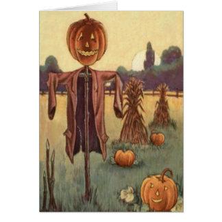 Abóbora da lanterna de Jack O do espantalho Cartão Comemorativo