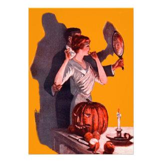 Abóbora da lanterna de Jack O do espelho do casal Convite