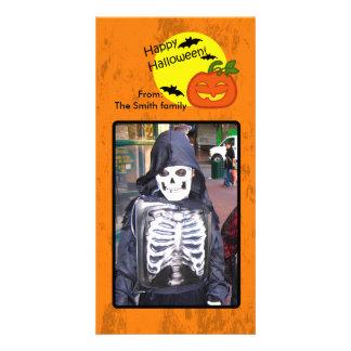 Abóbora do Dia das Bruxas com fundo afligido Cartão Com Foto