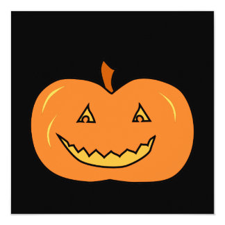 Abóbora do Dia das Bruxas com sorrir forçadamente Convite Quadrado 13.35 X 13.35cm