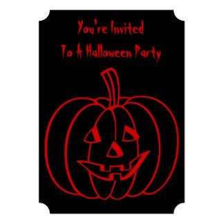 Abóbora do Dia das Bruxas engraçado com cara Convite 12.7 X 17.78cm