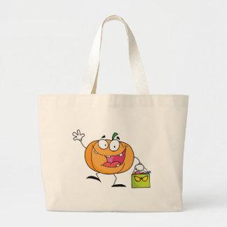 Abóbora do personagem de desenho animado com saco  bolsas