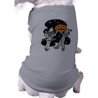 Abóbora retro do Dia das Bruxas do vintage Camiseta Para Cães