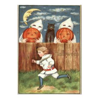 Abóbora Scared do traje do fantasma do gato preto Convite Personalizados