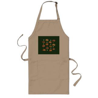 Abóboras com o avental longo das folhas