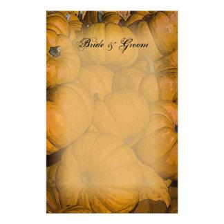 Abóboras de outono alaranjadas que Wedding artigos Papel Personalizados