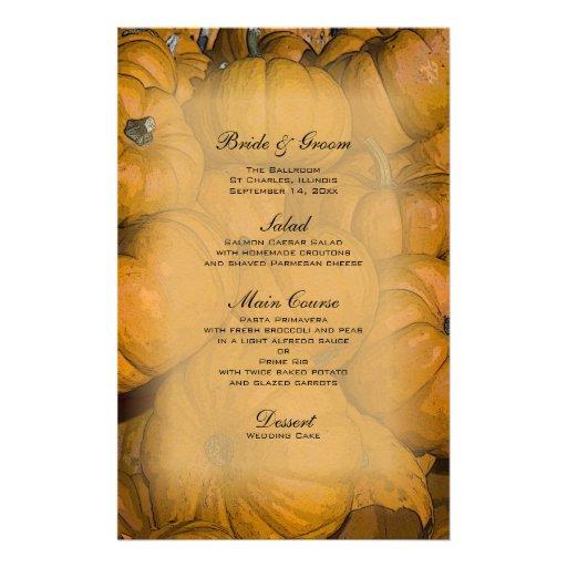 Abóboras de outono que Wedding o menu Papeis Personalizados