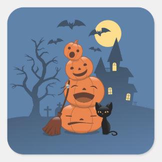 Abóboras do Dia das Bruxas e gato preto Adesivo Quadrado