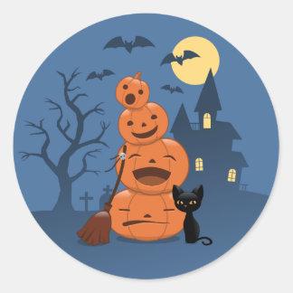 Abóboras do Dia das Bruxas e gato preto Adesivos Redondos