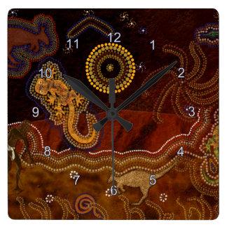 Aborígene australiano Dreamtime & animais Relógio Quadrado