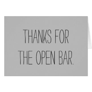 Abra o cartão de casamento do bar