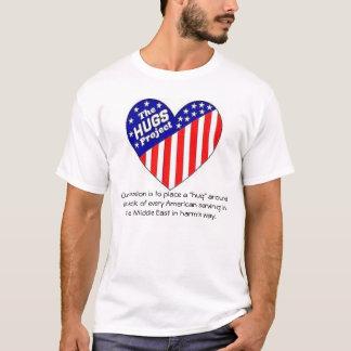 """""""Abraça"""" a camisa do logotipo do projeto"""