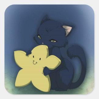 Abraço da estrela adesivo quadrado