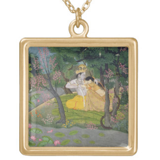 Abraço de Radha e de Krishna em um bosque da flore Pingente