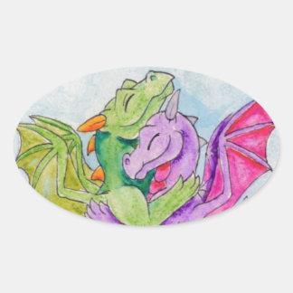 Abraço do dragão adesivo oval