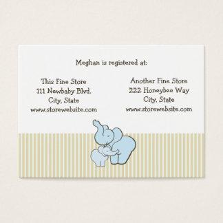 Abraços azuis do elefante do cartão do registro do