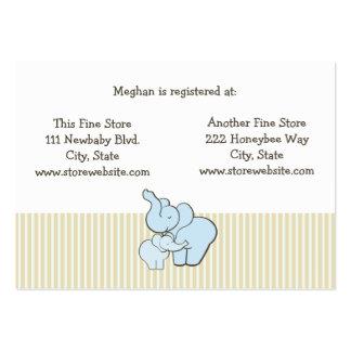 Abraços azuis do elefante do cartão do registro do cartão de visita grande