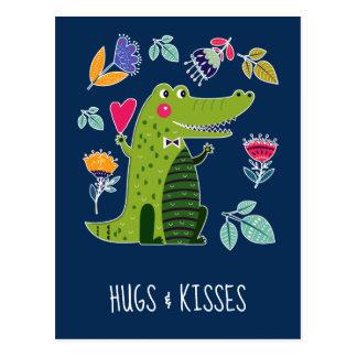 Abraços & beijos. Cartão engraçados do crocodilo