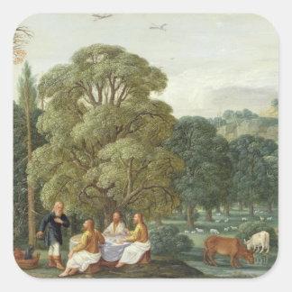 Abraham divertido os três anjos adesivo quadrado