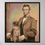 """Abraham Lincoln e seu gato """"Dixie """" Impressão"""