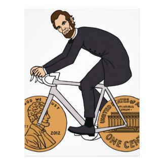 Abraham Lincoln em uma bicicleta com moeda de um Papel Timbrado