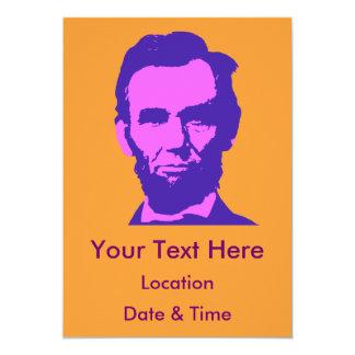 Abraham Lincoln no rosa & no roxo Convite 12.7 X 17.78cm