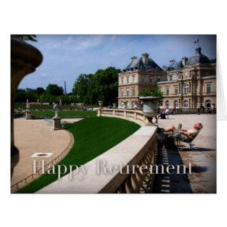 Abril cartão da aposentadoria feliz de Paris no