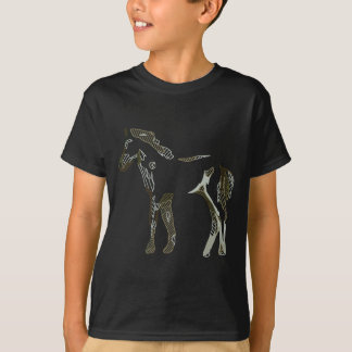 Abstract horse drawing in grey and beige tones - camiseta